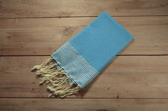 Honeycomb Hand Towel in Blue with Metallic Stripes by FineFoutas