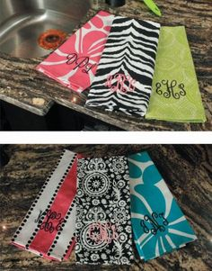 Monogrammed Kitchen Towels $18