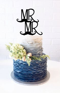 Mr & Mr Cake Topper Custom Wedding Cake Topper by WeddingCakeName