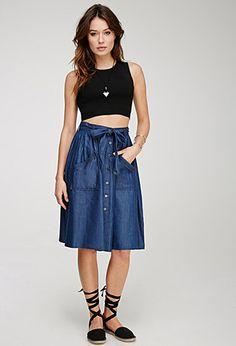 Denim A-Line Skirt | LOVE21 - 2000136306
