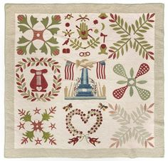 Baltimore album quilt, ca. 1850, having a central memorial panel with an eagle and American flags, 55'' x 56''.