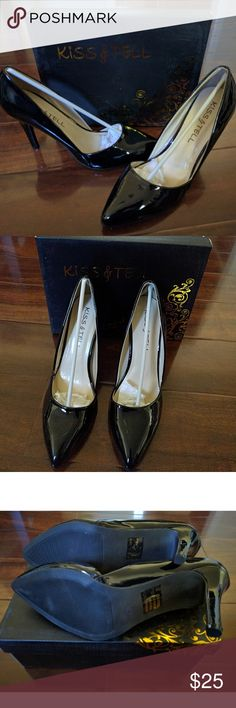 """BRAND NEW BLACK PATENT POINTY TOE PUMPS BRAND NEW BLACK PATENT POINTY TOE PUMPS FROM KISS & TELL. FIT RUNS LARGER . PLEASE NOTE PUMPS ARE NARROW WIDTH. HEELS HEIGHT 4"""". INSOLE HAS CUSHION. nwot. INCLUDE With ORIGINAL BOX kiss & tell Shoes Heels"""