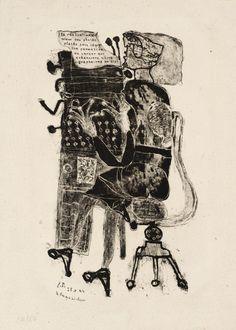 mariaflorez: Typist (From Matter and Memory), Lithography on paper, 1944 (published by Jean Dubuffet Jean Fautrier, Art Informel, Jean Dubuffet, Art Brut, Art Et Illustration, Arte Popular, Naive Art, Art Graphique, Outsider Art