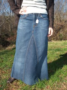 Hey, I found this really awesome Etsy listing at https://www.etsy.com/listing/82817857/made-to-order-basic-long-jean-skirt