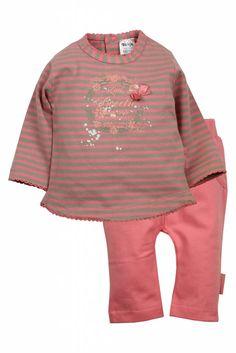 Dirkje babykleding 2 delig setje sweetie roze met zandkleurig