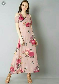 88ba4104503878 Buy women Pink Floral Cold Shoulder Maxi Dress online in India. Shop latest  collection of Maxi Dresses for women with COD and easy return at FabAlley.