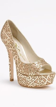 White and Gold Wedding Shoes. Sparkly Glitter Heels. Bride Shoes. Alice + Olivia Heels <3<3