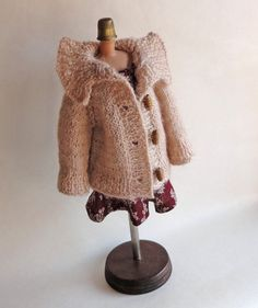 """Doll's cardigan/ (fits 14"""" doll) / knitted cardigan/ clothes for Waldorf dolls/ Waldorf Doll cardigan/ beige/ knitted cardigan doll by EvaiDolls on Etsy"""