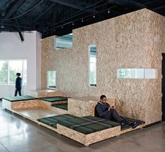 Creative Office Interior Design Love the back to back desks for shared office space. Ballard Office Design www. Corporate Interiors, Office Interiors, Commercial Design, Commercial Interiors, Uses Of Wood, Design Comercial, Oriented Strand Board, Cool Office, Office Ideas