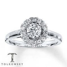 Tolkowsky Engagement Ring 3/4 ct tw Diamonds 14K White Gold obsessed