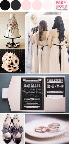 Black and Blush Wedding Colors | http://fabmood.com/blush-black-wedding-ideas/