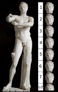 Lisipo creó otro canon más esbelto que el anterior aumentándolo a siete cabezas y media.