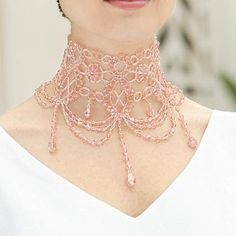 Ideas for gothic Victorian steampunk romantic lace choker Pattern bijoux: Collier Mylene Farmer Beaded Collar, Beaded Choker, Beaded Jewelry, Handmade Jewelry, Beaded Bracelets, Crochet Collar, Beaded Lace, Crystal Jewelry, Silver Jewelry