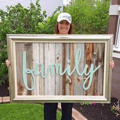 Start at Home Decor's Reclaimed Wood Signs with Wood Word Cutouts. #DIYHomeDecorArt