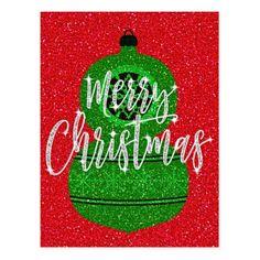 Retro Inspired Green Glitter Ornament Postcard - merry christmas diy xmas present gift idea family holidays