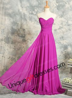 A-line/Princess Sweetheart Sweep Train Chiffon Evening Dresses Red Carpet Dresses With Draping