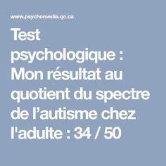Test psychologique: Mon résultat au quotient du spectre de l'autisme chez l'adulte: 34/50