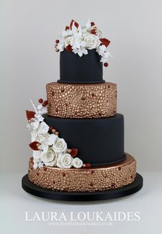 Black and Copper Wedding Cake by Laura Loukaides - http://cakesdecor.com/cakes/302318-black-and-copper-wedding-cake