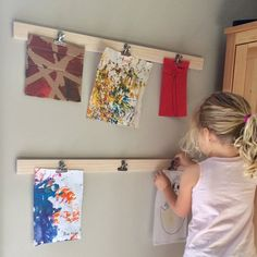 Kids Art Display Hangers - Set of 2 - Childrens Art Clip on Wall Display - White Wash Wood, Timber with Clips