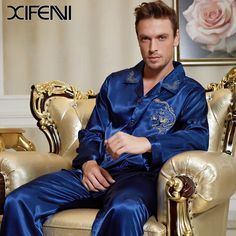 a2b0a88cb4 2016 Brand Spring Casual Man Luxury Dragon Embroidery Long sleeve Blue Pajamas  Sets L-3XL
