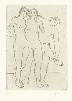 PABLO PICASSO 1881 - 1973 LES TROIS BAIGNEUSES, III (B. 62; BA. 108) Estimate     6,000 — 8,000  GBP Etching, 1923, printing with plate tone, signed in pencil, numbered 1/100, on Arches wove paper, published by Marcel Guiot, with his blindstamp, framed plate: 180 by 129mm 7 1/8 by 5 1/8 in sheet: 279 by 282mm 15 by 11 1/8 in Sotheby's