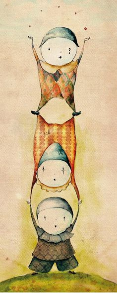 Clowns Illustration by Nina Popovska, via Behance....i think these are quite possibly the only clowns i will never get the shivers from...