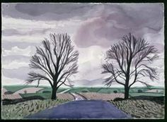 """David Hockney  """"Hand Eye Heart"""" Watercolors of the East Yorkshire Landscape, two trees, east yorkshire"""