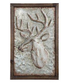 Millwood Pines Wood and Embossed Metal Deer Wall Décor