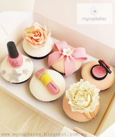 Pink & Peach Themed Cupcakes For Candice's Birthday     Red Velvet cupcakes         Make up kits, a peach rose & peony for a gorgeous ...