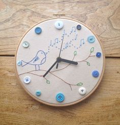 Embroidery Hoop Clock with Button and Hand by FlutterbyButton, £25.00