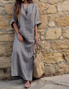 2018 Autumn Women Striped Dress Sexy V Neck Long Sleeve Maxi Long Dresses Vintage Casual Loose Plus Size Vestidos Vestidos Sexy, Vestidos Plus Size, Vestidos Vintage, Vintage Dresses, Long Sleeve Maxi, Maxi Dress With Sleeves, Short Sleeve Dresses, Plain Dress, Sheath Dress