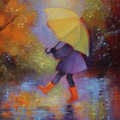 Autumn Rain Yellow Umbrella Orange Boots