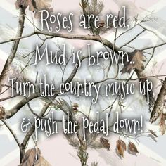 Roses are red, mud is brown, turn the country music up & push the pedal down! Country Girl Life, Country Girl Problems, Country Girls, Country Outfits, Country Music Lyrics, Country Songs, Red Quotes, Song Quotes, Wisdom Quotes