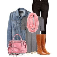 """Pink & Denim for Fall"" by kellylynne68 on Polyvore"