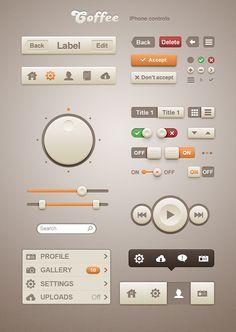 Coffee iPhone Retina App UI - Free PSD  http://www.techirsh.com