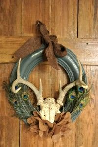 Antler Wreath from a plaster frame and my dad's antlers.