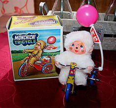 Monchichi / Monchhichi Rarität Blechspielzeug , Dreirad mit Funktion