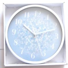 Disty Pastel Blue and White Floral Wall Clock - Comes Boxed