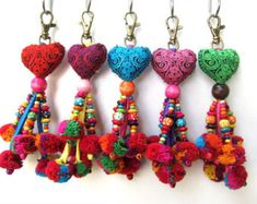 Heart Keychain Fabric Heart Pom Pom beaded Keychain Pom Pom Purse Charm Heart Purse Swag Assorted Colors Wholesale Accessories Heart and Pom Pom Keychain with Pretty Wood Beadwork and Cotton Pom Poms. The Hearts are slightly padded and sewn by han Craft Stick Crafts, Felt Crafts, Fabric Crafts, Pom Pom Purse, Handmade Keychains, Schmuck Design, Wooden Beads, Etsy, Creations