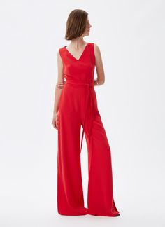 Mono palazzo con maxiaberturas Rojo NEW IN frontal Palazzo Jumpsuit, Must Haves, Legs, Shopping, Woman, Collection, Dresses, Fashion, Adolfo Dominguez