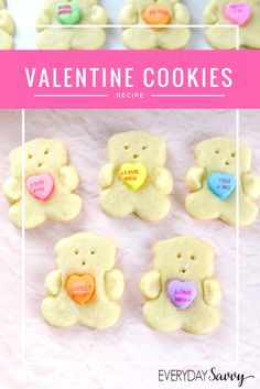 This Valentine Day Sugar Cookie recipe w/ bears holding conversation hearts. Very easy to make and so fun that the kids will help. via @everydaysavvy