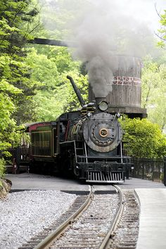 Why is it that trains are so beautifully photogenic? Dollywood Express Steam Train, Conner Heights, Pigeon Forge, Tennessee by macfanmd Locomotive Diesel, Steam Locomotive, Train Tracks, Train Rides, Motor A Vapor, Grand Parc, Rail Train, Train Pictures, Old Trains