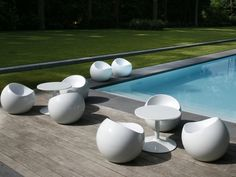 Ball Chair White Modern Outdoor Furniture Lawn Sectional