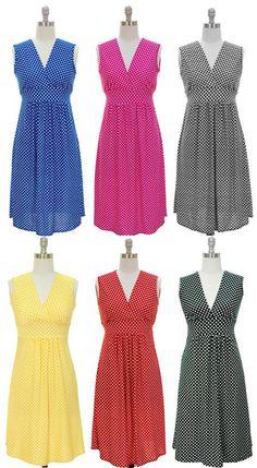 Vintage Retro Classic V Neck Polka Dot Sun Dress S M L XL New