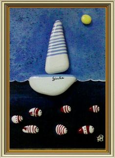 Barca a vela -rosaria gagliardi pepple,stone,rock,shell art taşlar, tablola Pebble Painting, Love Painting, Pebble Art, Stone Crafts, Rock Crafts, Arts And Crafts, Pebble Stone, Stone Art, Hand Painted Rocks