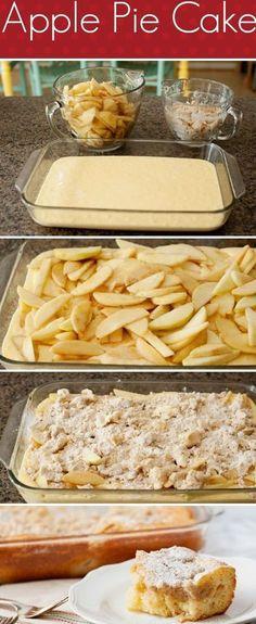 Apple Pie Cake Recipe – Sometimes you want cake and sometimes you want pie….or… Apple Pie Cake Rezept – Manchmal willst du Kuchen und manchmal willst du Kuchen … oder du könntest beides haben! Food Cakes, Cupcake Cakes, Apple Pie Cake, Apple Cakes, Apple Pie Bread, Apple Pie Cupcakes, Apple Pie Cookies, Apple Pie Muffins, Almond Cookies