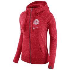Women's Nike Ohio State Buckeyes Vintage Full-Zip Hoodie ($70) ❤ liked on Polyvore featuring tops, hoodies, red, nike hoodies, hooded sweatshirt, sweatshirt hoodies, long sleeve hoodie and hooded pullover