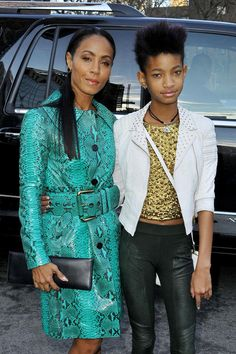 Jada Pinkett Smith and daughter Willow Smith show off their unique styles while attending the Michael Kors Fall 2013 show during New York Fashion Week