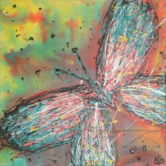 "FLY AWAY Mixed media on canvas 46cmx46cm (18""x18"") $250"