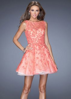 A Line High Neck Hot Coral Nude Lace Tulle Layered Party Dress